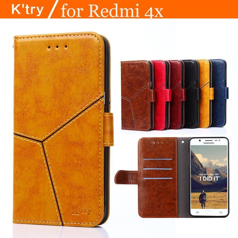 K'try Case For Xiaomi Redmi 4X Case Book Flip Style High Quality Mobile Phone Case For Redmi 4X Stand Cover