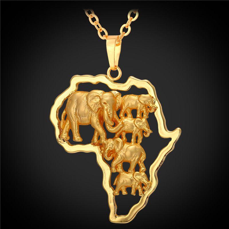Couleur or jaune chaud carte africaine bijoux chanceux hommes/femmes ethnique afrique éléphant/Lion/antilope Animal pendentif collier P1924