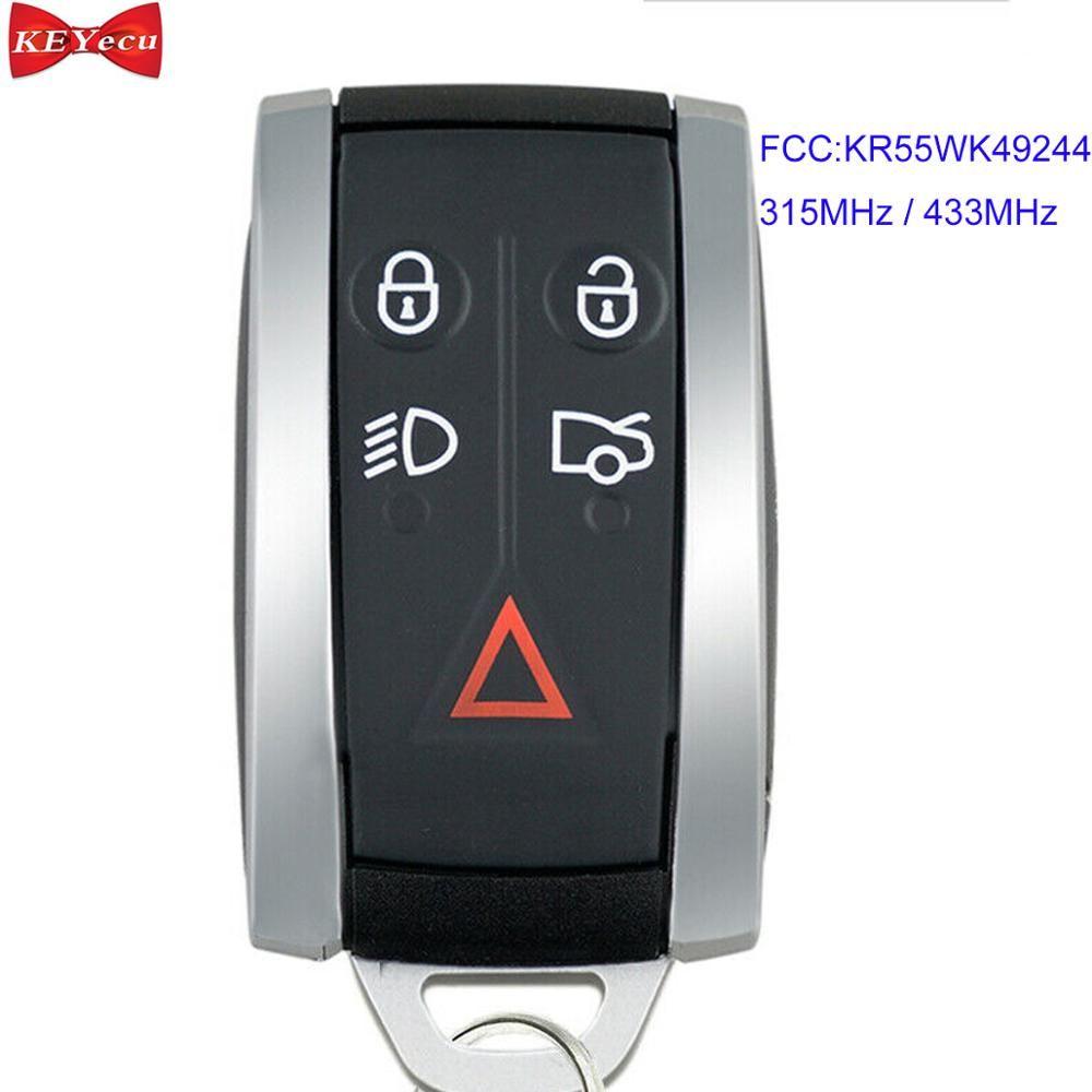 KEYECU für Jaguar XF XFR XK XKR 2009-2013 Smart Remote-Auto Schlüssel Fob FCC ID: KR55WK49244 315 MHz/433 MHz 5 Taste