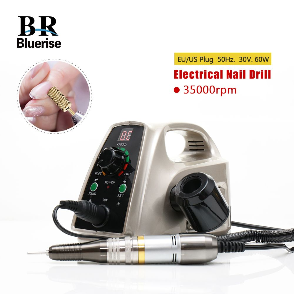 Electric Nail Drill 35000rpm Manicure Machine Pedicure Tools Accessoires Drill Bits File Strong Nail Art <font><b>Equipment</b></font> 60w 110v 220v