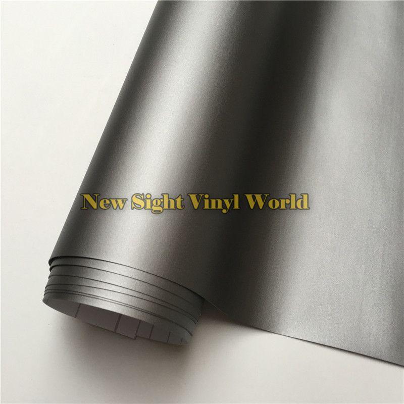 Hohe Qualität Matt Grau Vinyl Film Roll Car Wrap Gunmetal grau Matte Vinylverpackung Blasenfreie Für Auto Styling Größe: 1,52*30 mt/Rolle