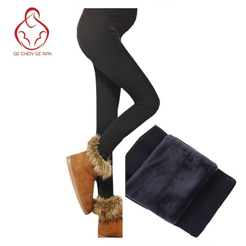 Plus Invierno Engrosamiento de Terciopelo Otoño de Maternidad Leggings Pantalones Para Mujeres Embarazadas Calientes de Cintura Alta Pantalones del vientre de atención Durante El Embarazo