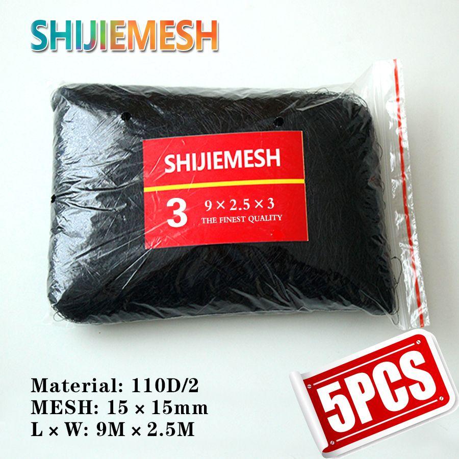 Haute qualité 9 M x 2.5 M 15mm trou verger jardin Anti oiseau chauve-souris Net Polyester 110D/2 noué filet de brume 5 pièces