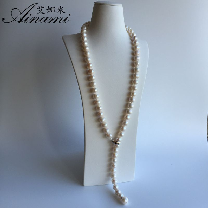 [Ainami] 100% Natural Pearl Long Necklace 12mm big pearls Necklace 80cm Pearl Necklace Jewelry for sweater chain Women Gifts