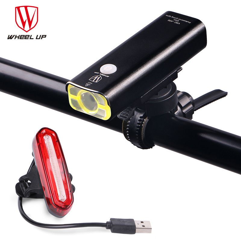 WHEEL UP 2017 Bicycle Lamp New Arrival Bike Torch MTB Road Usb Chargeable Led Front Light Tail Light Set Taillight Rear Light