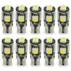 Safego 10 pcs LED W5W T10 canbus 5050 5 smd led T10 194 168 5smd T10 led canbus 5050 sans erreur blanc lumière lampe ampoule