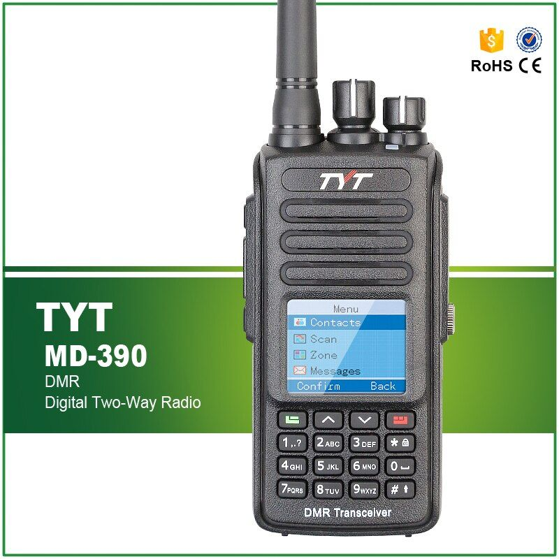IP 67 Waterproof DMR Radio Walkie Talkie TYT MD-390 Tytera MD390 Digital Ham Radio Transmitter with Programming Cable Software