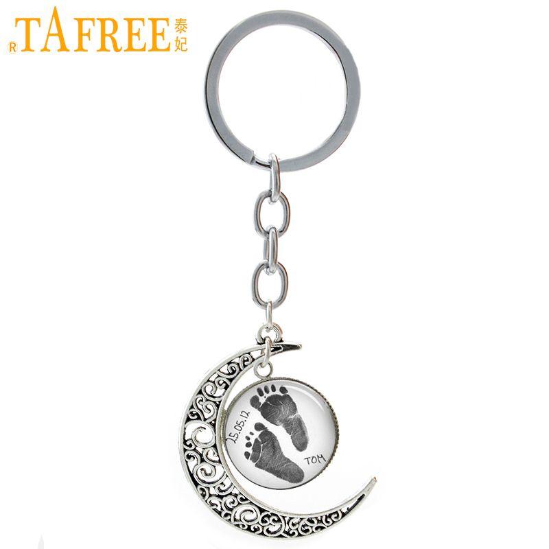 Tafree Винтаж след цепочка для ключей персонализированные имя ребенка дата пользовательские Луны брелок папа мама Keepsake украшения для любител...