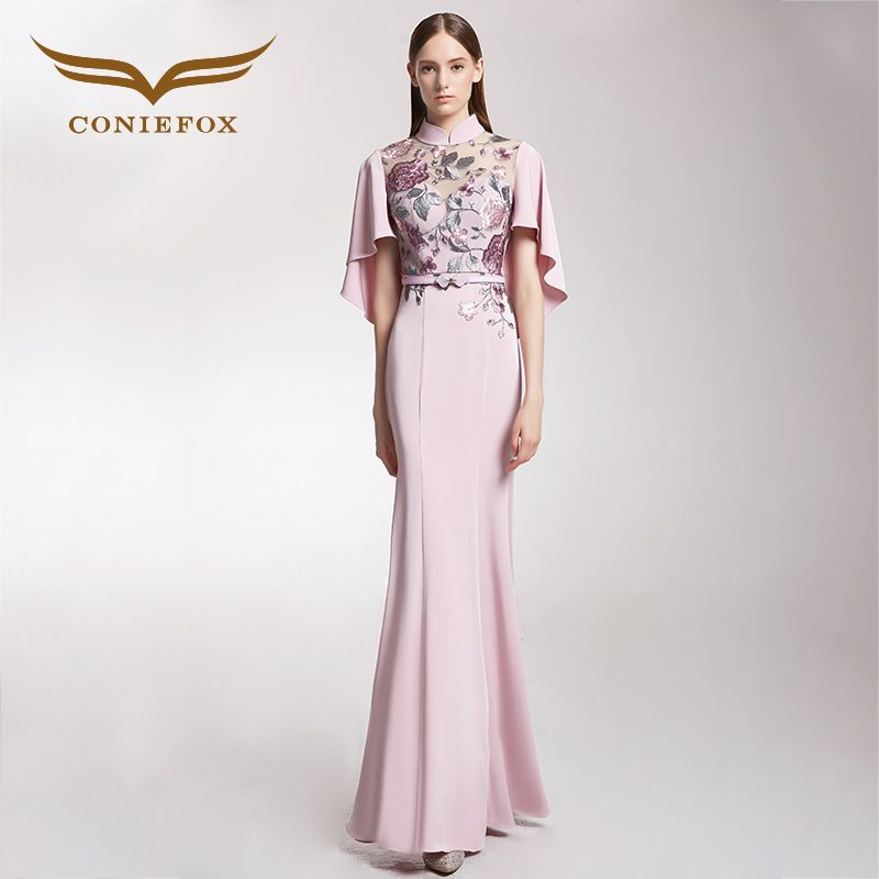 CONIEFOX 32251 pink floral print embroidery mermaid Ladies elegance Improved host prom dresses party evening dress gown long