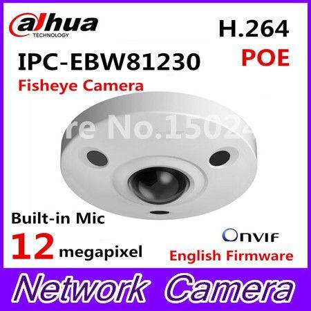 Dahua 12MP IP Panoramic Fisheye Camera IPC-EBW81230 H.265 support POE IR10m waterproof IP67 mini camera Micro SD memory IK10