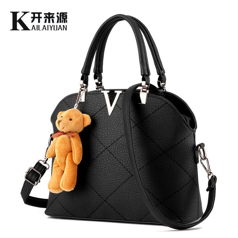KLY 100% Genuine leather Women handbags 2018 New female bag sweet lady fashion handbag shoulder bag Messenger female bear
