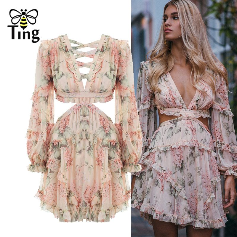 Tingfly Fashion pink Designer Runway Dress Women's Hollow Out Ruffles Floral Print Chiffon Mini Dress Sexy Backless Deep V neck