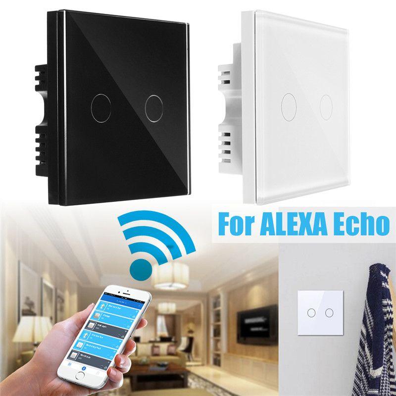 2 Gang 1 Way EU UK US Intelligente Fernbedienung Wand licht Touch-schalter Luxus Kristallglas-verkleidung Für WiFi Amazon Alexa