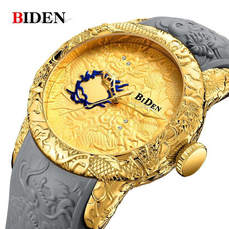 Men Watch BIDEN Top luxury brand gold dragon watch men quartz wristwatche Big dial Sports waterproof watch man relogio masculino