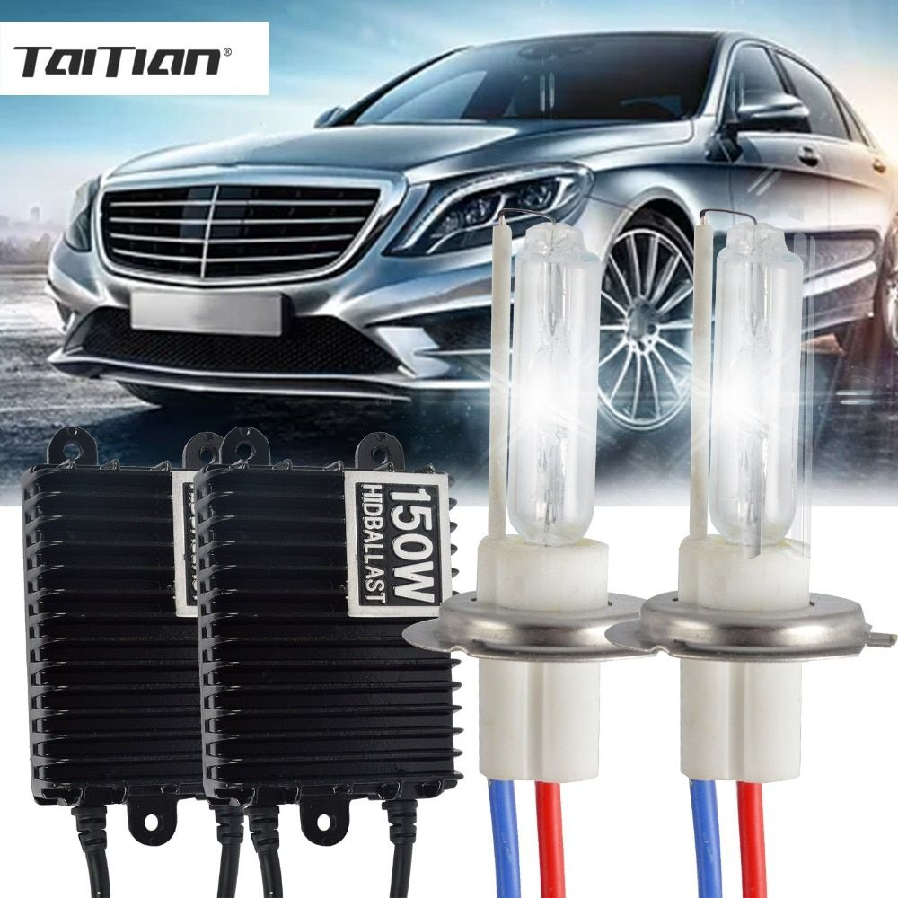Taitian 2Pcs 12V bulb h3 150W Hid Xenon foglights H1 6000K Canbus h7 Car lamp h4 halogen xenon bi xenon kit fog light h11 HB3