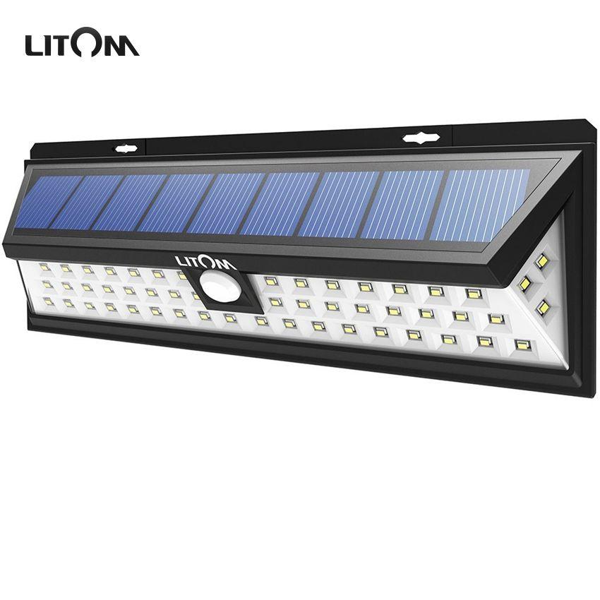 LITOM 54 LED Solar Lights Night lampion Motion Sensor Waterproof Outside Wall Patio Yard LED Solar Lighting Energy Garden Lamp