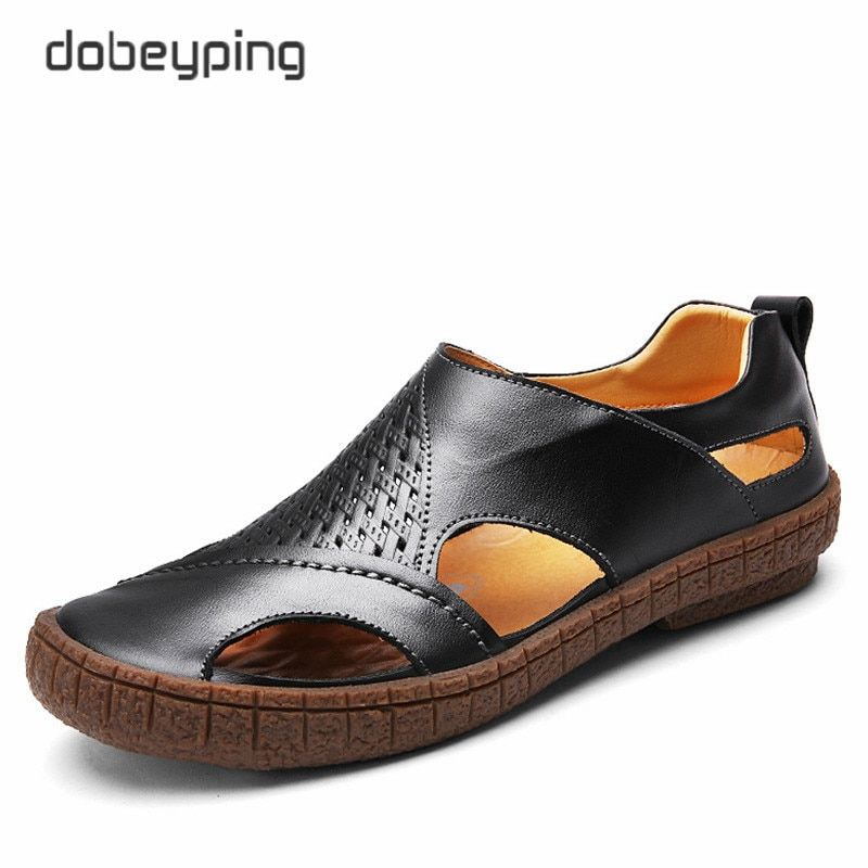 2017 New Men's Sandals Casual Genuine Leather Man Summer Shoes Fashion Breathable Male Loafers Soft Driving Shoe Beach Men Flats