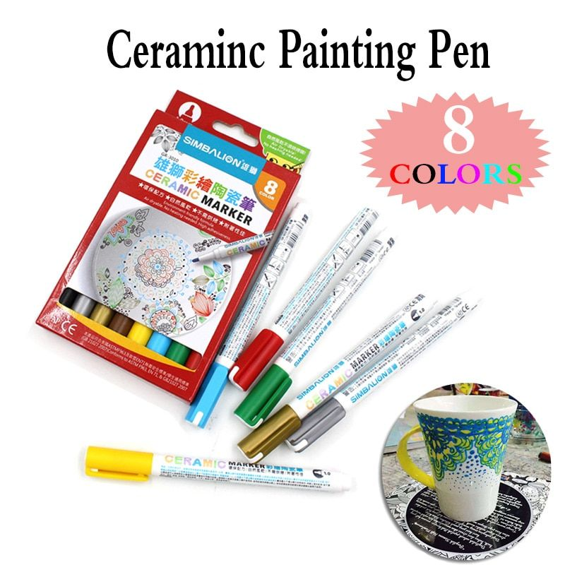 8 Colors Ceramic brush Pen Hand-painted Creative DIY Glass Drawing Marker Pen Free Baked Mug painting paint pen