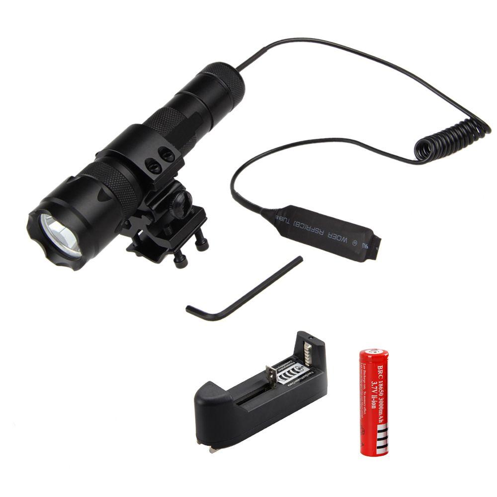 1000 Lm XML T6 LED Chasse Flashlig Torche Tactique Lumière Montage Lampe Fusil Rail Lanternes + Rechargeable 18650 Batterie + chargeur