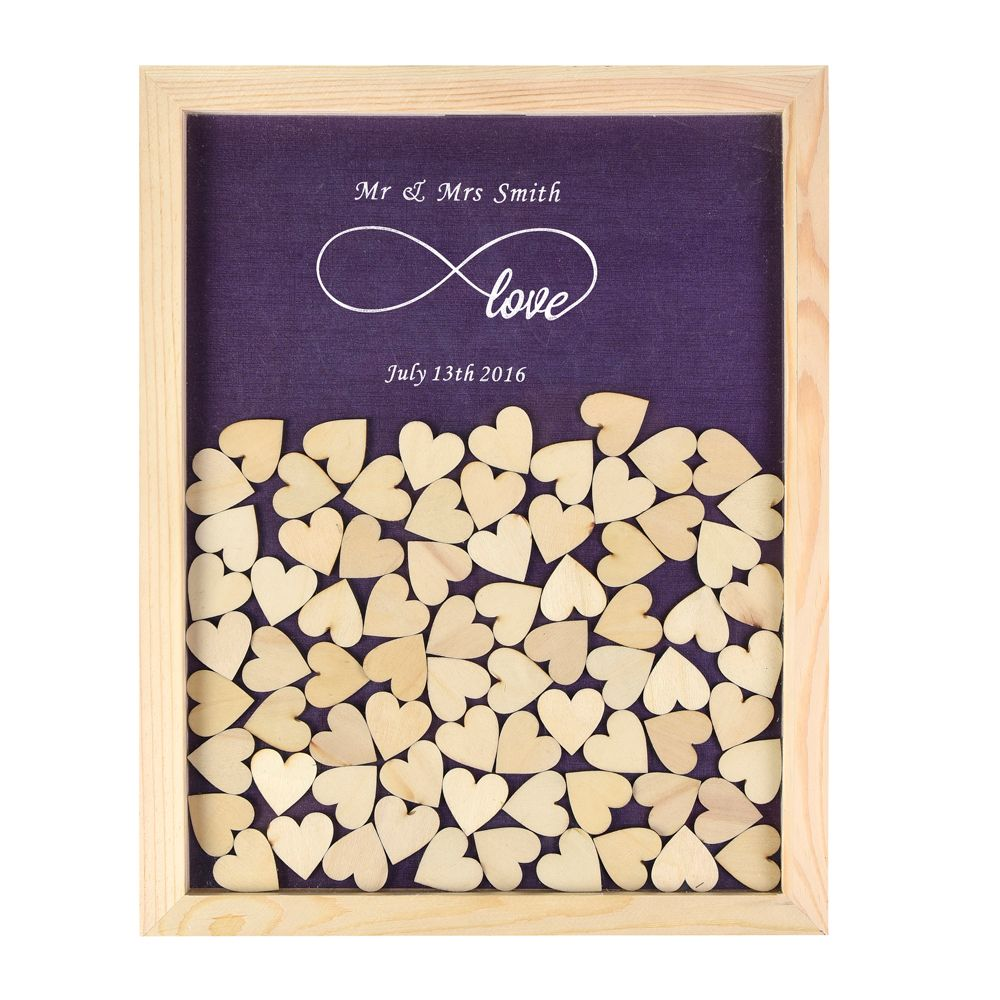 Personalized Multi-Colors Rustic Drop Top Wooden Wedding Guest Book Frame & Customized Hearts & 130 Pcs Hand-Writing Wood Hearts