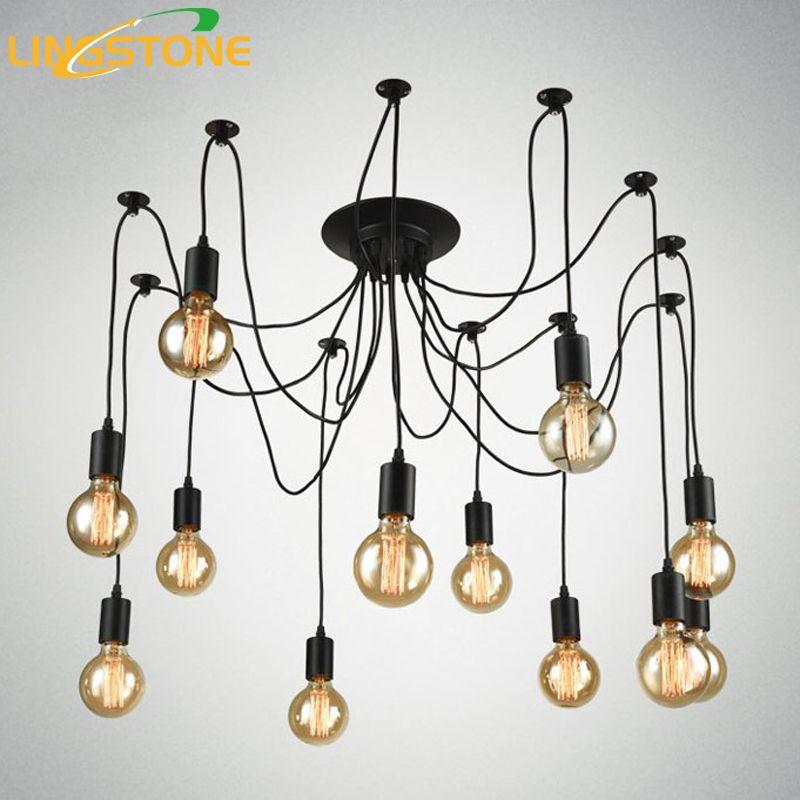 Vintage Nordic Spider Pendant Lamp Multiple Adjustable Retro Pendant Lights Loft Classic Decorative Fixture Lighting Led Home