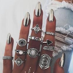 Meyfflin vintage knuckle anillo set para las mujeres moda Anel aneis bague Femme piedra plata anillos de dedo de Midi Boho joyería 10 unids/set