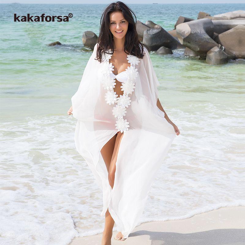 Kakaforsa 2018 Pareo Strand Vertuschen Floral Kaftan Beachwear Solide Langen Strand Chiffon Bikini Badeanzug Abdeckung-ups