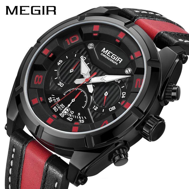 MEGIR Chronograph Sport Uhr Männer Quarz Armbanduhren Uhr Mode Leder Armee Militär Uhren Stunde Zeit Relogio Masculino