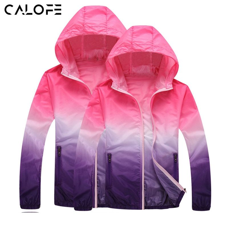 CALOFE Gradient Printed Running Jackets for Women Men Lovers Thin Skin Sport Jacket Hooded Cardigan Quick Dry Sun Protection z25