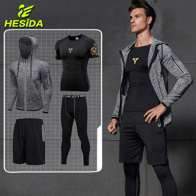 Sport Suit Compression Set Running Clothes Sport Jogging Suits Tights Workout Fitness Traning Tracksuit Dry Fit Men's Sportswear