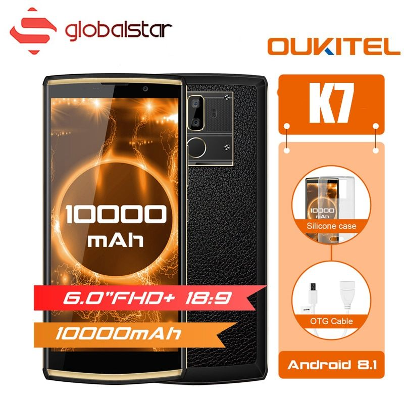 Oukitel K7 10000mAh Big Battery Smartphone MTK6750T Octa Core 6.0 inch FHD+ Display 4G RAM 64G ROM Android 8.1 OTG 4G Cellphone