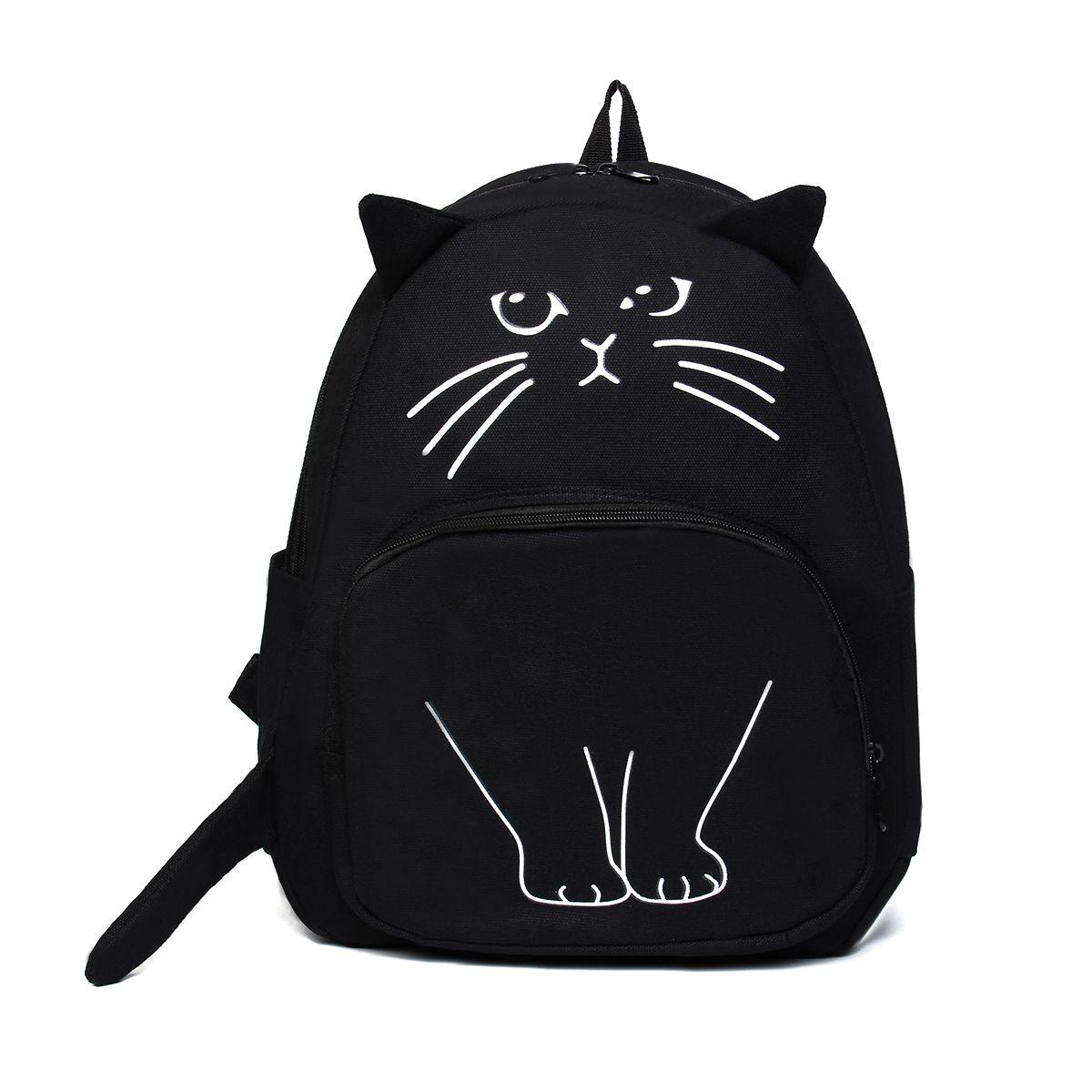 Osmond femmes mignon chat sac à dos noir toile sac d'école pour adolescentes cartable impression 3D sac à dos voyage sac à dos Mochila