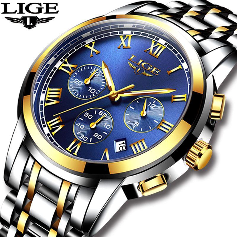 2018 Nouvelle montres hommes Marque De Luxe LIGE Chronographe Hommes montre de sport Étanche En Acier Plein de Quartz Hommes Montre Relogio Masculino