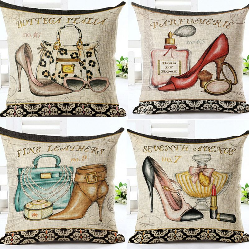 Mode Vintage moderne lin coton toile de jute taie d'oreiller décorative coussin couvrant canapé siège voiture chaussures à talons hauts sac de parfum