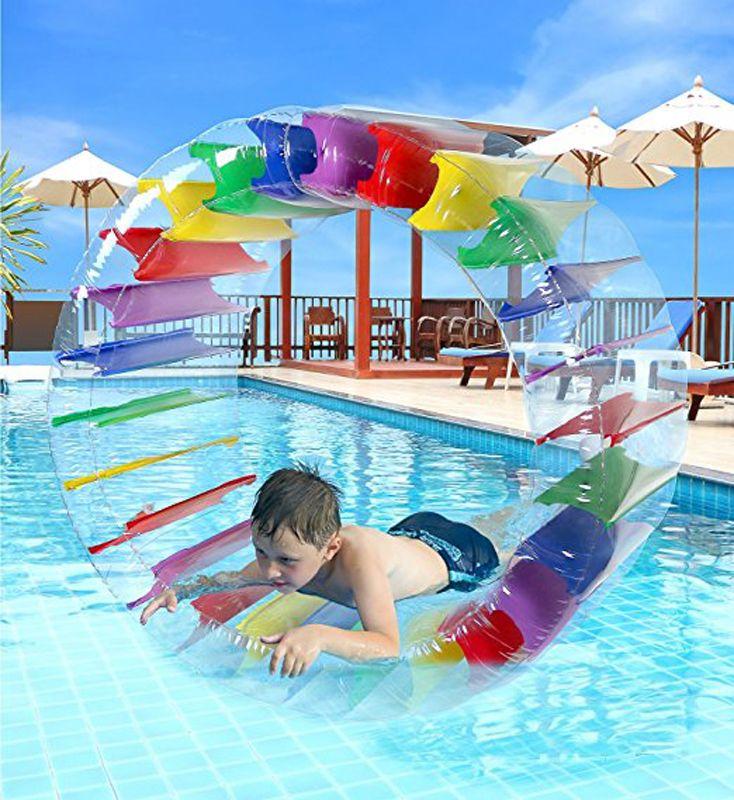 90 cm Riesige Bunte Aufblasbare Wasser Rad Roller Kinder Schwimmen Pool Float Kugel Rollen Wasserballons Für Jungen und Mädchen Strand spielzeug