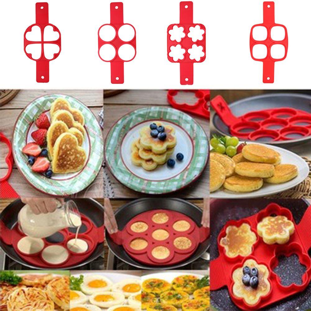 Rot 4 Löcher Silikon Crêpière Form Antihaft-pfanne Ei Mold DIY Quadrat Herz Kreis Blume Ei Ring Küche Pfannkuchen werkzeuge