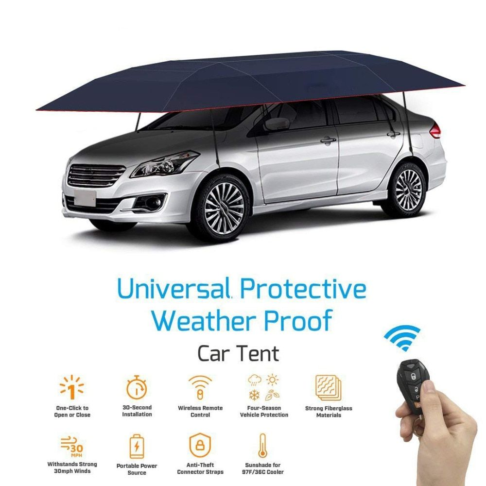 KEMiMOTO Portable Full Automatic Car Cover With Remote Control Car Sun shade Umbrella Outdoor Roof Cover UV Protection Kits