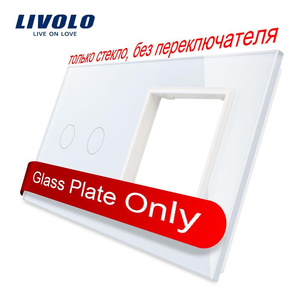 Livolo luxe blanc perle cristal verre, 151mm * 80mm, norme EU, 2Gang & 1 cadre verre panneau, VL-C7-C2/SR-11 (4 couleurs)