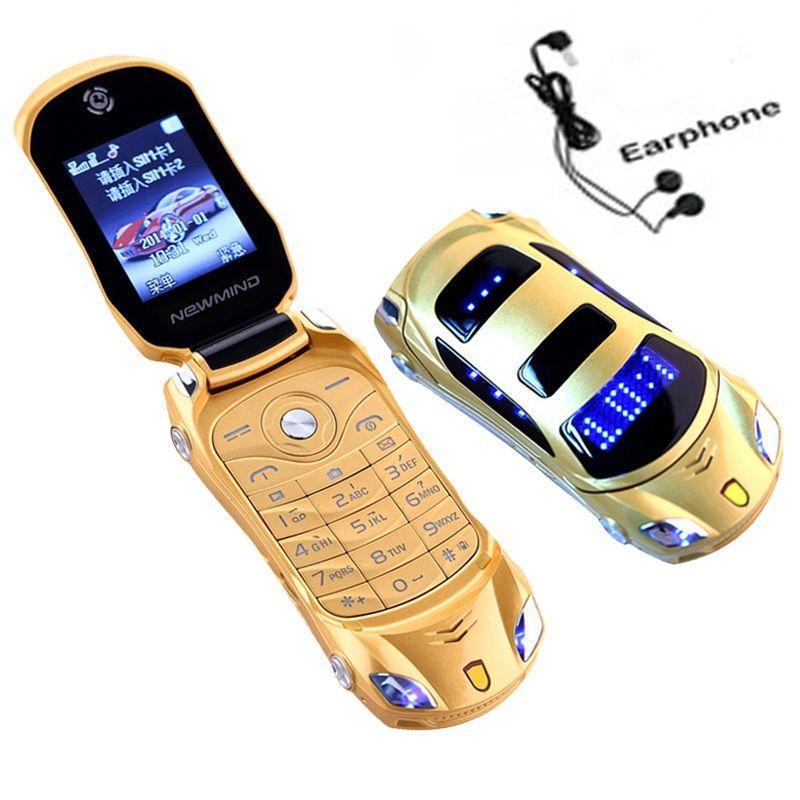 <font><b>Newmind</b></font> F15 Flip Unlocked Flashlight Dual Sim Cards Mp3 Mp4 Super Small Cellphone Car Shape Model Mini Mobile Student Cell Phone