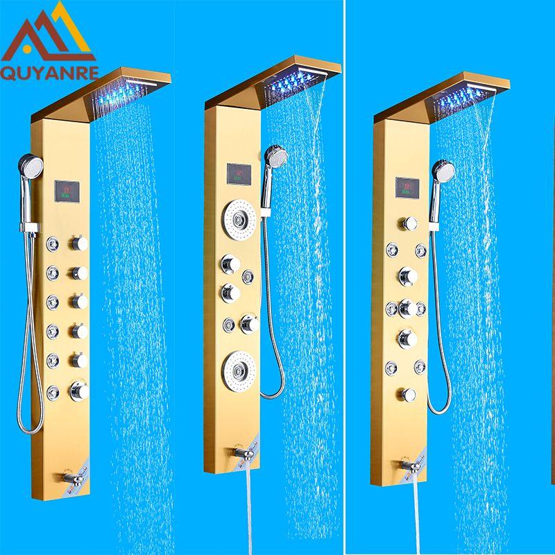 Quyanre Golden Shower Panel Column LED Rainfall Waterfall Shower Head Digital Shower Tub Spout Massage jets Bath Shower