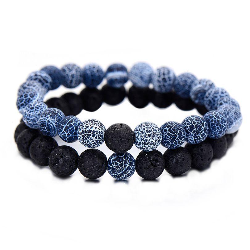 2Pcs/Set Couples Jewelry Classic Distance Bracelet Bangle For Men Black Lava Beaded Bracelets Matching Yin Yang Personality Gift