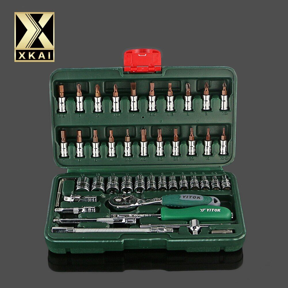 XKAI OUTILS de HAUTE QUALITÉ 46 pc Clé Socket Set Outil De Réparation De Voiture Ratchet Wrench Set Clé Dynamométrique Combinaison Peu un ensemble de touches