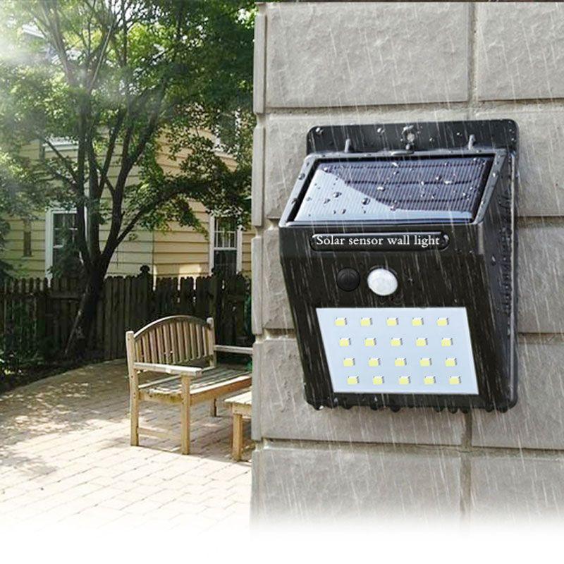 Lampe de poche LED capteur extérieur imperméable à l'eau de mur solaire jardin réverbère capteur automatiquement lampe motion voie publique Nuit blubs