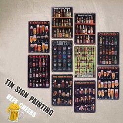 Bir Di Dunia Vintage Tin Tanda Bar Pub Dekorasi Dinding Rumah Retro Poster Seni Logam