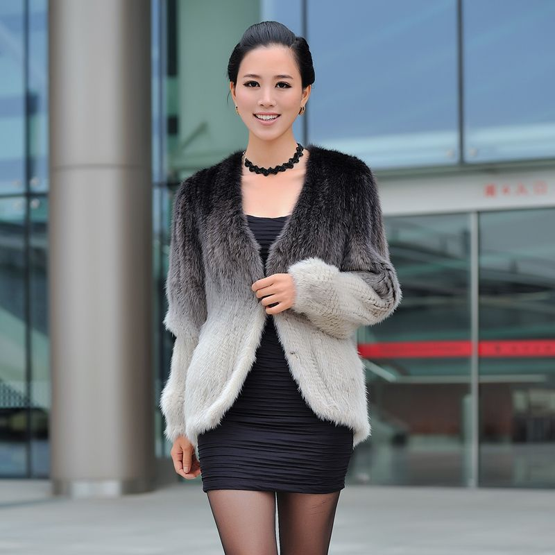 Autumn Winter Women's Genuine Real Natural Knitted Mink Fur Jacket Lady Cardigan Short Coat Outerwear VF0346