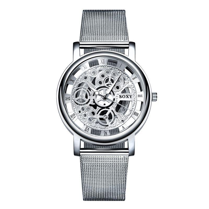SOXY Watch 2018 Skeleton Wrist Watch Men Simple Style Mesh Belt Men Women Unisex Quartz Watches Hollow Watches relogio masculino