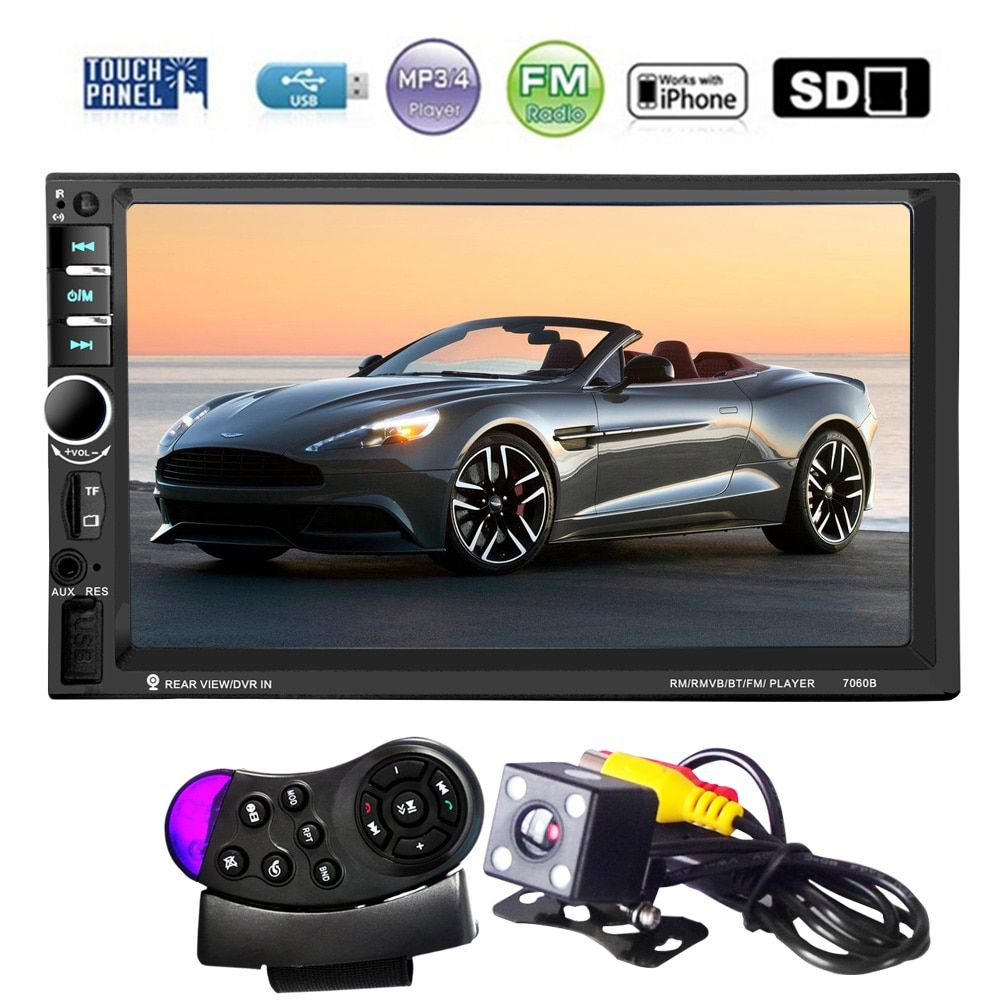 7 Inch HD Touch Screen 2 Din Bluetooth Auto Car Audio Stereo FM MP5 Player Support AUX USB TF Phone + Reverse Rearview Camera