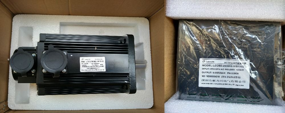 3phase 220V 2300W 2.3KW 15N.m 1500rpm 130mm AC servo motor drive kit 2500ppr with 3m cable