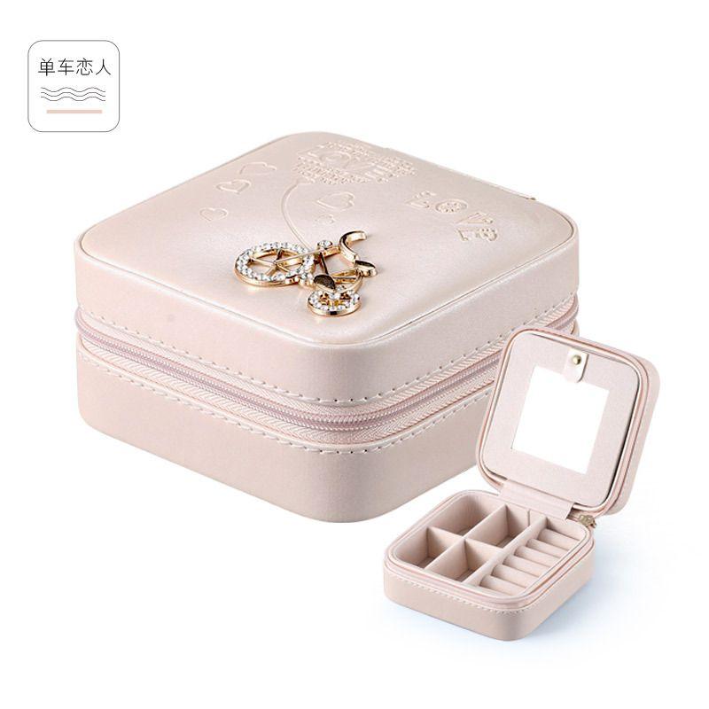 Organisateur de bijoux de voyage boîte cosmétique maquillage organisateur bijoux emballage boîte boucles d'oreilles stockage cercueil conteneur cadeau sac pour fille