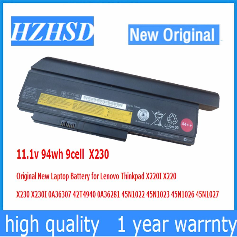 11.1v 94wh 9cell X230 Original New Laptop Battery for Lenovo Thinkpad X220I X220 X230I 0A36307 42T4940 0A36281 45N1022 45N1023